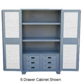 "Global™ Heavy Duty Cabinet HU260 Expanded Metal Door with Drawers, Welded 60""W x 24""D x 78""H"