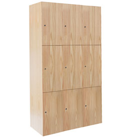 Hallowell UW3582-3A-W-RO Wood Club Locker Triple Tier 15x18x24 9 Door Assembled Red Oak