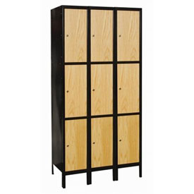 Hallowell UW3288-3MEW Wood/Metal Hybrid Locker Triple Tier 12x18x24 9 Door Ready to Assemble