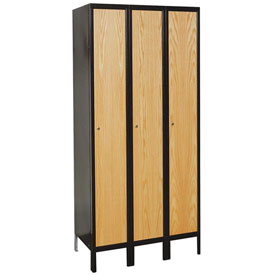 Hallowell UW3288-1A-MEW Wood/Metal Hybrid Locker Single Tier 12x18x72 3 Door Assemble