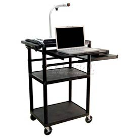 "Luxor Plastic AV Cart with Pull-Out Laptop & Side Shelves 42""H"