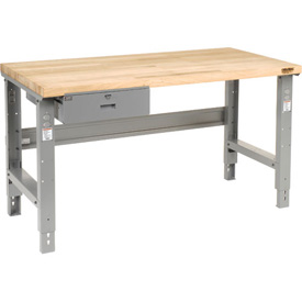 "60""W x 30""D Workbench, Butcher Block Square Edge with Drawer"