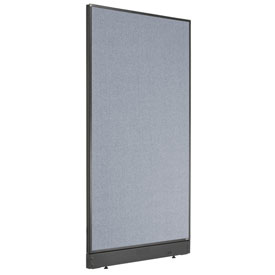 "Interion™ Non-Electric Office Cubicle Partition Panel with Raceway, 36-1/4""W x 64""H, Blue"