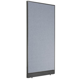 "Interion™ Non-Electric Office Cubicle Partition Panel with Raceway, 36-1/4""W x 76""H, Blue"