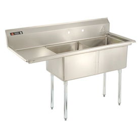 """Stainless Steel Sink - Two Bowl 18 x 18 with 16-1/2"""" Left Sided Drainboard"""