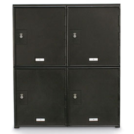 "4 Doors Cell Phone Locker 22""W x 16""D x 26""H Black with Combo Locks"