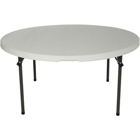 "Lifetime® Portable Round Folding Table 60"" - White Granite - Pkg Qty 15"