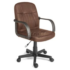 Leather Mid-Back Office Chair Brown