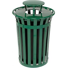Global™ Outdoor Metal Slatted Trash Receptacle with Rain Bonnet Lid - 36 Gallon Green