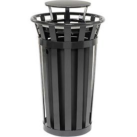 Global Industrial™ Outdoor Metal Slatted Trash Receptacle with Rain Bonnet Lid - 24 Gal Black