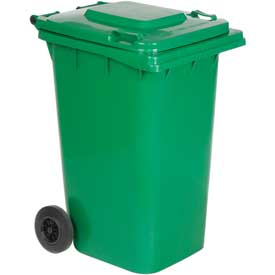 Vestil Mobile Trash Can TH-64-GRN - 64 Gallon Green