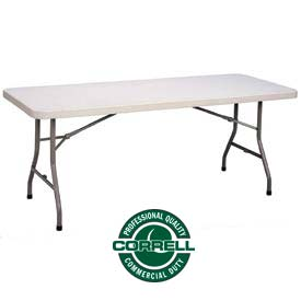 "Blow-Molded Plastic Folding Table 30""x60"" Rectangle, Charcoal w/Gray Top"