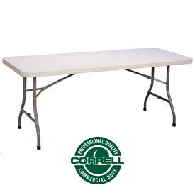 "Blow-Molded Plastic Folding Table 30""x 72"" Rectangle, Charcoal w/Gray Top"