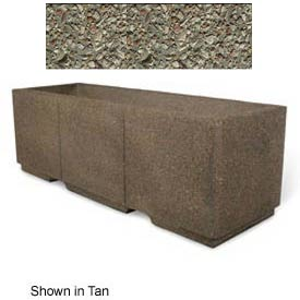 "Concrete Outdoor Planter w/Forklift Knockouts, 72""Lx24""W x 24""H Rectangle Gray Limestone"