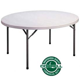 "Correll Folding Table - Blow Molded Round - 48"" - Gray"