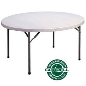 """Correll Folding Table - Blow Molded Round - 71"""" - Gray"""