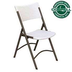 Blow-Molded Plastic Folding Chair, Charcoal w/Gray Seat, Ctn of 4 - Pkg Qty 4