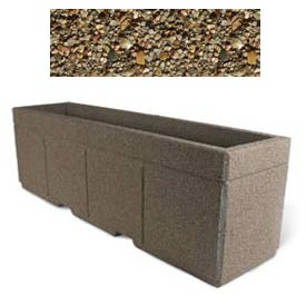 "Concrete Outdoor Planter w/Forklift Knockouts, 96""Lx24""W x 30""H Rectangle Tan River Rock"