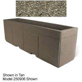 "Concrete Outdoor Planter w/Forklift Knockouts, 96""Lx30""W x 36""H Rectangle Gray Limestone"