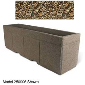 "Concrete Outdoor Planter w/Forklift Knockouts, 96""Lx30""W x 36""H Rectangle Tan River Rock"