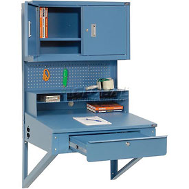 "Shop Desk Wall Mount w Pigeonhole Compartments and Cabinet Riser 34-1/2""W x 30""D"