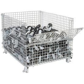 "Nashville Wire Folding Wire Container GC404830E4 48x40x36-1/2 3000-4000 Lb Cap.Drop Gate 40"" Side"
