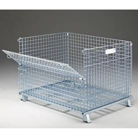 "Nashville Wire Folding Wire Container GC404830S4 48x40x36-1/2 3000-4000 Lb Cap.Drop Gate 48"" Side"