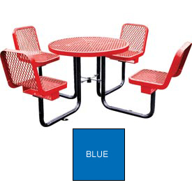 "36"" Round Table with Chairs, Surface Mount, Expanded Metal - Blue"