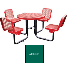 "36"" Round Table with Chairs, Surface Mount, Expanded Metal - Green"