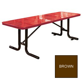 8' Free Standing Perforated Picnic Table, Surface Mount - Brown