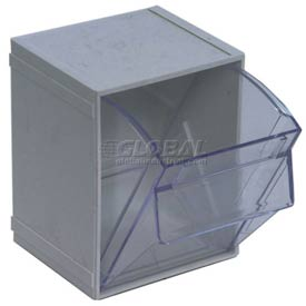 Quantum Tip Out Interlocking Bin QTB405 4-1/2 x 4 x 6 Gray - Pkg Qty 5