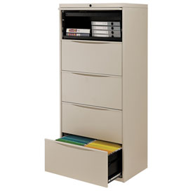 "Interion® 30"" Premium Lateral File Cabinet 5 Drawer Putty"