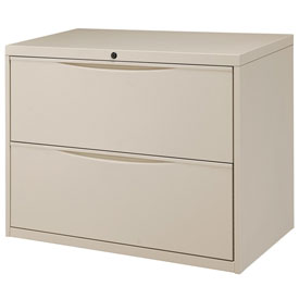 "Interion™ 36"" Premium Lateral File Cabinet 2 Drawer Putty"