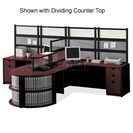 Good Storlie 2 Person L Desk Workstation W/Bookcase End Without Panels U0026  Dividing Top