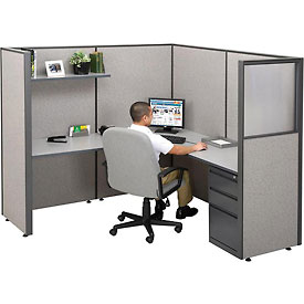 "Single Radius Corner Workstation, 75""W x 75""D x 66""H"