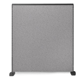 "66"" H X 60"" W Pewter Haze Freestanding Office  Partition Panel with Charcoal Frame"