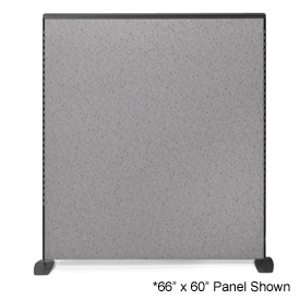 """66"""" H X 72"""" W Pewter Haze Freestanding Office Partition Panel with Charcoal Frame"""