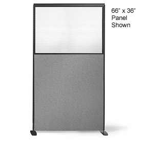 "66"" H X 24"" W Partial Plexiglass Freestanding Office Partition Panel"