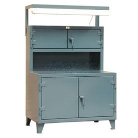 Strong Hold Cabinet Workstation with Fluorescent Light Fixture