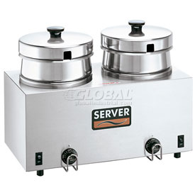 Server Twin Food Server w/ 4 QT (3.8 L) Insets, Water Bath Warmer