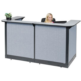 "U-Shaped Reception Station With Raceway, 88""W x 44""D x 46""H, Gray Counter, Blue Panel"