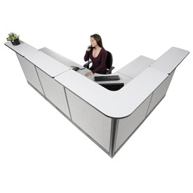 "Interion L-Shaped Reception Station With Raceway, 116""W x 80""D x 46""H, Gray Counter, Gray Panel"