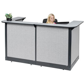 "U-Shaped Reception Station With Raceway, 88""W x 44""D x 46""H, Gray Counter, Gray Panel"
