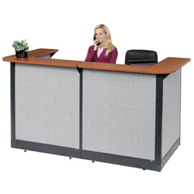 "Interion U-Shaped Reception Station With Raceway, 88""W x 44""D x 46""H, Cherry Counter, Gray Panel"