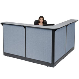 "Interion L-Shaped Reception Station With Raceway, 80""W x 80""D x 46""H, Gray Counter, Blue Panel"