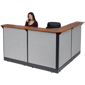 "L-Shaped Reception Station With Raceway, 80""W x 80""D x 46""H, Cherry Counter, Gray Panel"