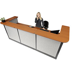 "U-Shaped Reception Station With Raceway, 124""W x 44""D x 46""H, Cherry Counter, Gray Panel"