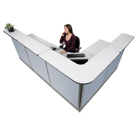 "Interion L-Shaped Reception Station With Raceway, 116""W x 80""D x 46""H, Gray Counter, Blue Panel"