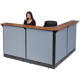 "Interion™ L-Shaped Electric Reception Station, 80""W x 80""D x 46""H, Cherry Counter, Blue Panel"