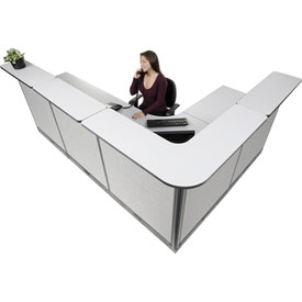 "L-Shaped Electric Reception Station, 116""W x 80""D x 46""H, Gray Counter, Gray Panel"
